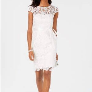 Adrianna Papell Ivory  Sleeve Lace Cocktail Dress